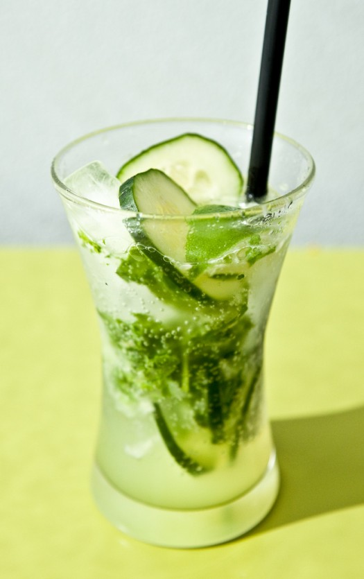 ... and an endless pitcher of this mint, basil, cucumber and lime fizz