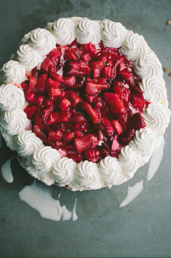 Roasted Strawberry Rhubarb Ice Cream Cake // Not Without Salt