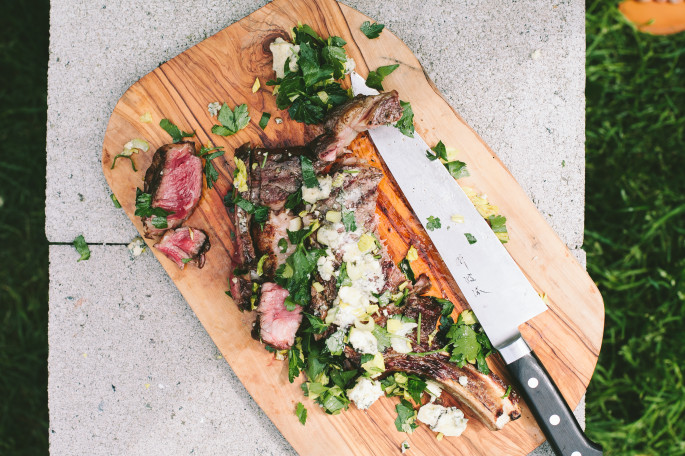 Grilled Rib-Eye with Parsley, Celery and Blue Cheese // Not Without Salt
