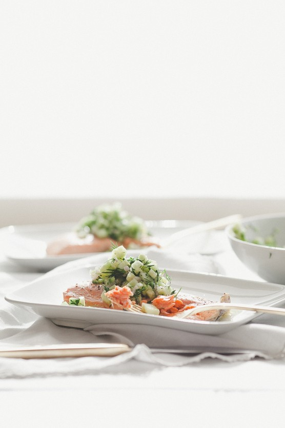 Poached Salmon with Cucumber Salsa // Not Without Salt
